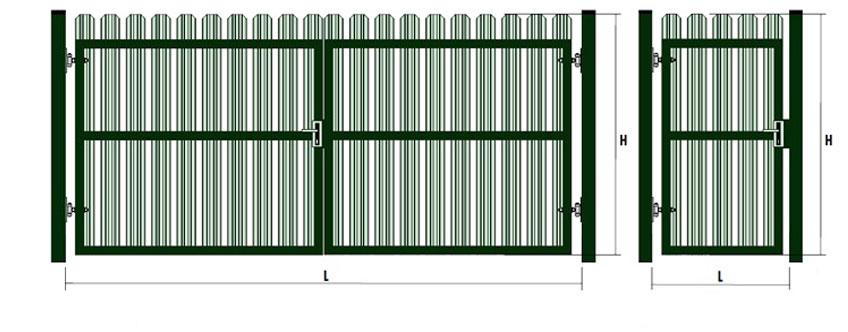 Розпашні ворота з штакетника
